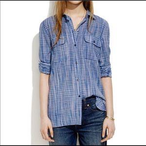 Madewell Ex-boyfriend Indigo Weave Shirt
